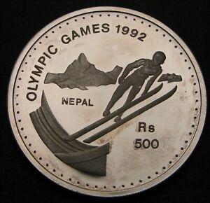 NEPAL 500 Rupee VS 2049 / AD 1992 Proof - Silver - Olympics Ski Jumping - 857