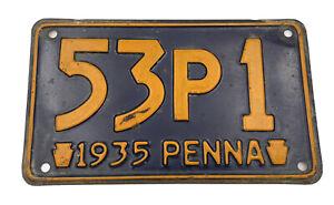 Vintage Pennsylvania License Plate 1935  3 Letter 1 Number RARE