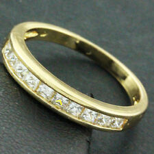 RING REAL 18K YELLOW G/F GOLD GENUINE DIAMOND SIMULATED LADIES ETERNITY DESIGN