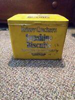 Antique KRISPY CRACKERS SUNSHINE BISCUIT METAL TIN LOOSE WILES MINNEAPOLIS