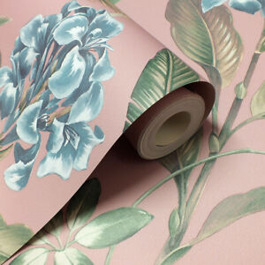 Stylish Floral Themed, Pink, Smooth Finish Wallpaper