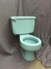 Vtg Mid Century  Aqua Blue Porcelain Toilet Bowl Tank Lid Standard 11-19E