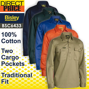 Bisley Mens Work Shirt BSC6433 Long Sleeve Closed Front 100%Cotton Drill NEW