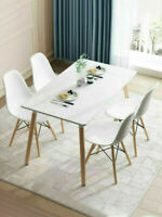 5 PCS Dining Table and 4 Chairs Set For Kitchen Dining Room Furniture White