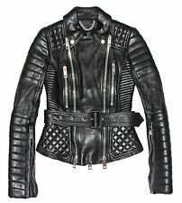 BURBERRY PRORSUM Black Quilted Leather Peplum Waist Biker Perfecto Jacket IT 36