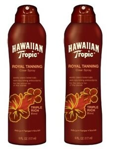Lot of 2 New Hawaiian Tropic Royal Tanning Clear Spray Triple Rich Blend 5.4 oz