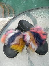 Authentic Steve Madden Multi Faux Fur Softy Sz 7 Slides EUC