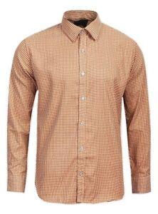 """Four Seasons"" Mens Custom Fit Orange/White Gingham Style Shirt - Size Large"