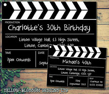 10 Hollywood Film Clapper Board Movie Personalised Birthday Party Invitations