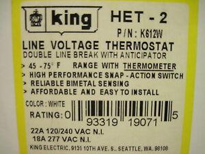 King Het-2 Line Voltage Thermostat Double Line Break w/Anticipator
