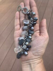 Silpada Beaded Bracelet Black & Gray Stones & Pearls