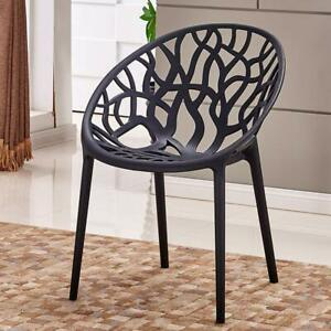Bird's Nest Forest Black/White Modern Master Dining Chair Garden Patio Stackable