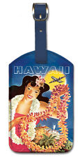 Leatherette VINTAGE AIRLINE Travel LUGGAGE TAG Baggage Label HAWAII Hula Girl