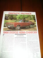 1966 DODGE HEMI CHARGER ***ORIGINAL 1989 ARTICLE / SPECIFICATIONS***