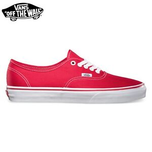 """Vans Chaussures """" AUTHENTIC """" RED Rouge Skate Classic Neuf Homme Femme Toile"""