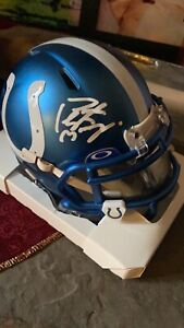 Peyton Manning Autographed Blaze Mini Helmet Colts decked out. Visor and clips