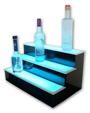 "28"" 3 Step Tier LED Lighted Shelves Illuminated Liquor Bottle Bar Display Stand"