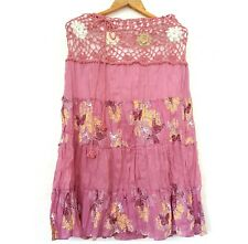 Pink Flared Skirt Flower lace Saloo Cotton Drawstring Waist Butterfly Printed