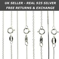 Genuine 925 Sterling Silver Curb, Snake Chain Necklace WHOLESALE Stamped Italy