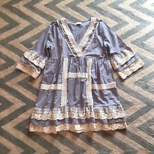 M New Anthropologie Women's Lace Trimmed Grey Folk Hippie Peasant Dress Medium