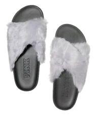 Victoria's Secret Pink Faux Fur Criss Cross Moon Ray color slippers slides sz. M