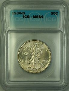1934-D Walking Liberty Silver Half Dollar 50c Coin ICG MS-64