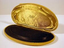 Boîte bijoux tissu ocre vintage n 36 intérieur velours noir signée Goupil Roanne