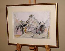 OLIVIA WILLES Original Pencil & Crayon Drawing Mud Houses, Kutch Village, India