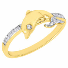 10K Yellow Gold Leaping Dolphin Diamond Motion Cocktail Promise Ring 0.05 Ct.