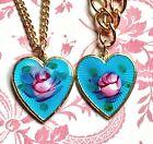 Vintage Sarah Coventry Necklace Set Bracelet Guilloche Demi Enamel Heart #G26