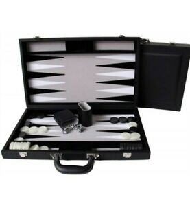 Dal Rossi Luxury 18″ 45 cm Black PU Leather Backgammon Set NEW!
