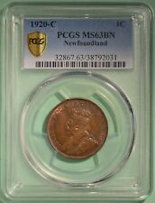 1920-C Newfoundland Large Cent - Graded PCGS MS63 BN - NICE - serial 38792031