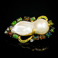 New Fashion 2022 Natural Baroque Pearl 925 Sterling Silver Brooch /NB05508