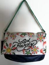 Ed Hardy Girls/Womens Cobalt Blue/White Floral Foldover Satchel Bag NWT