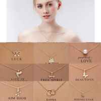 Gold/Silver Women Lucky Necklace Pendant Clavicle Chains Choker Card Jewellery