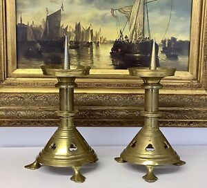 """Antique 10"""" Gothic Pugin Style Cast Brass Church Prickett Candlesticks C1900"""