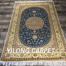 Yilong 4'x6' Blue Handmade Carpets Turkish Design Hand Knotted Area Rugs Y400C