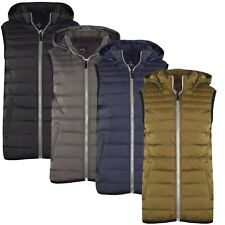 Mens Hood Hooded Gilet Lined Bodywarmer Outdoor Military Padded Quilted Jacket