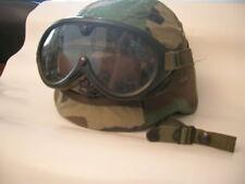 US ARMY Medium PASGT HELMET + DUST GOGGLES KEVLAR WOODLAND DESERT STORM BDU Helm