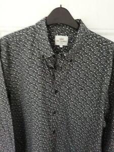 """BEN SHERMAN ORIGINAL Size L Black Two Tone Grey Floral Shirt 22"""" Pit to Pit"""
