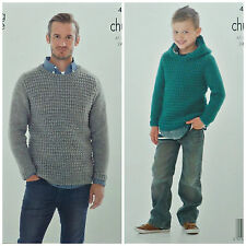 KNITTING PATTERN Mens/Boys Long Sleeve Round Neck/Hooded Jumper Chunky 4087