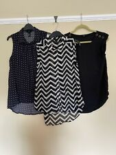 Bundle 3 Tops Black Monochrome H&M Next Sleeveless Size 8