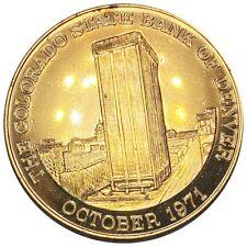1971 The Colorado State Bank of Denver 63rd Anniversary, Rare Brass Token NR!