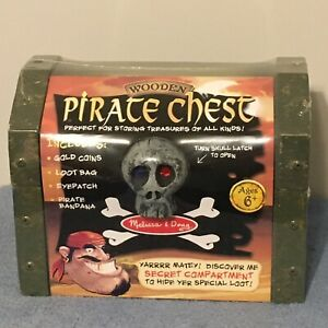 Melissa & Doug Wooden Pirate Chest Play Set, Gold Coins, Loot Bag... Brand New