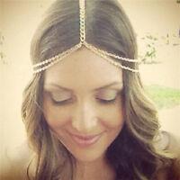 Women Gold Forehead Chain Jewelry Headband Head Piece Hair Band Hair Accessories