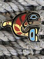 ALASKA IVORY JACK'S TRADING CO. 1989 Enamel Fish Pin Northwest Native American