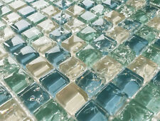 NEW BLUE GREEN & WHITE CRACKLE GLASS SMALL SQUARES MOSAIC WALL TILES 8MM
