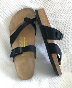Birkenstock Papillio Women's Leather Slide Sandals EU 43 Toe Loop Strap Buckle