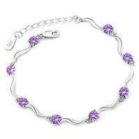Fashion 925 Sterling Silver Rhinestone Wristband Chain Bracelet Jewelry Gifts