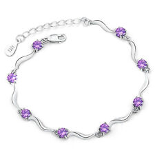 1Pcs Women 925 Sterling Silver Rhinestone Cuff Chain Bracelet Jewelry Casual Hot